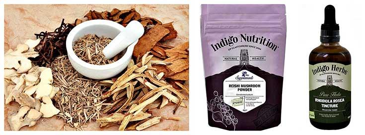 Siberian Ginseng, Reishi Mushroom Powder, Rhodiola Rosea Tincture