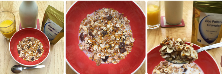Three images in a row. No. 1 is Bee Pollen packet, milk, orange squash & bowl of Muesli cereal & spoon laid out, pic no.2 is close up of Bee Pollen in Muesli in red bowl & no.3 is spoonful of cereal & bee pollen