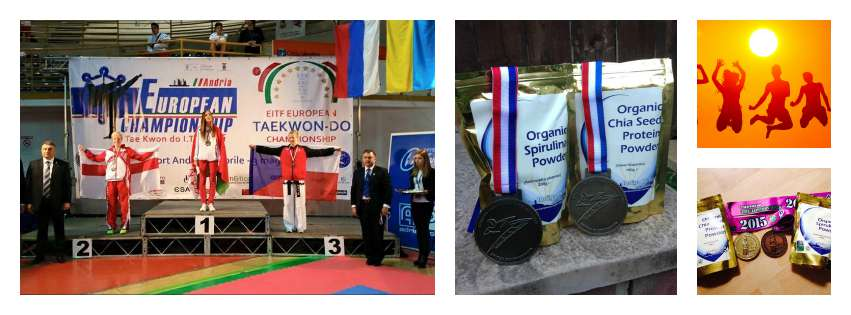 Medals, indigo products, podium and champions