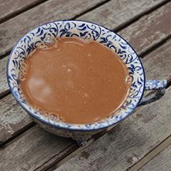 A hot mug of mushroom cocoa