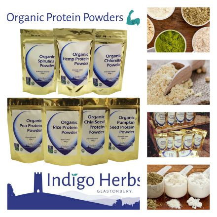 Indigo Herbs protein powders and scoops