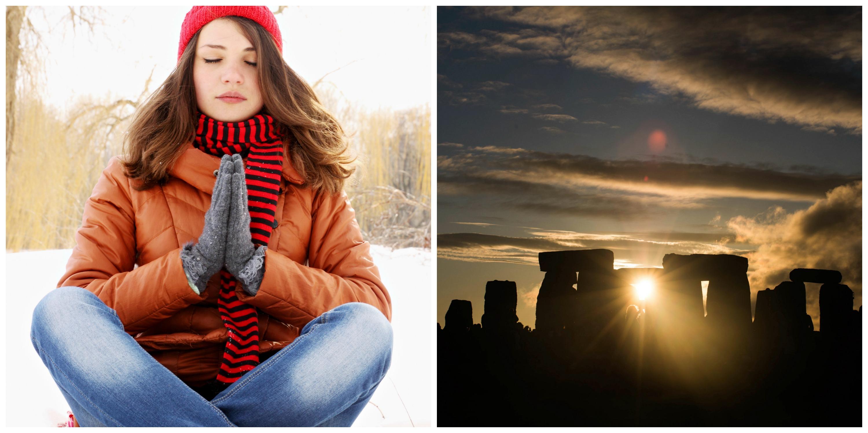 Lady Meditating and Stonehenge at Solstice