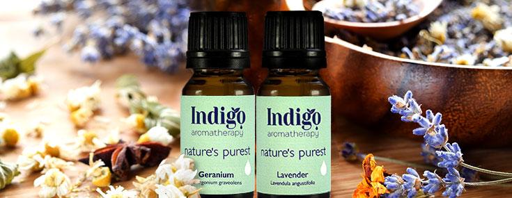Aromatherapy bottles, lavender, geranium