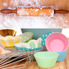 Baking equipment, rolling pin and cupcake cases