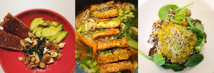 Faye - Vegan Tofu Scramble, Tofu Noodle Soup & Lentil Dahl Salad