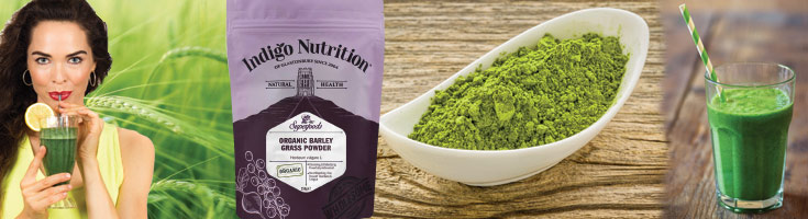 A banner of images including a healthy woman drinking a green smoothie, some green barley in a field, a bowl of powder and the barley grass product packet