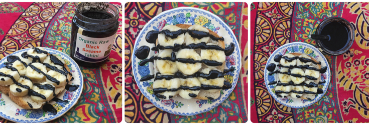 Organic Raw Black Sesame Tahini on toast with Banana