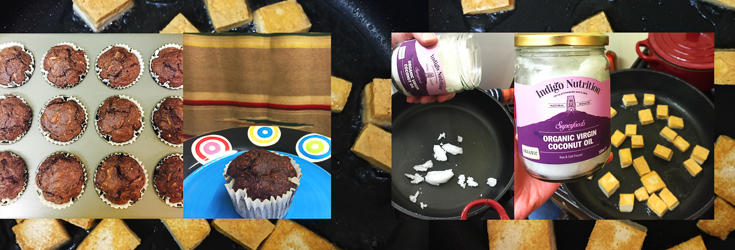 Cacao & Courgette Muffins and Tofu with Coconut Oil