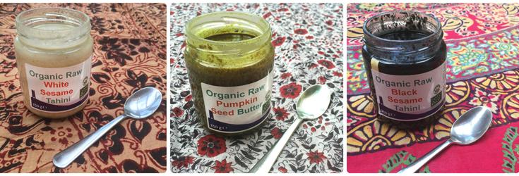 Organic Raw White Sesame Tahini, Organic Raw Pumpkin Seed Butter, Organic Raw Black Sesame Tahini