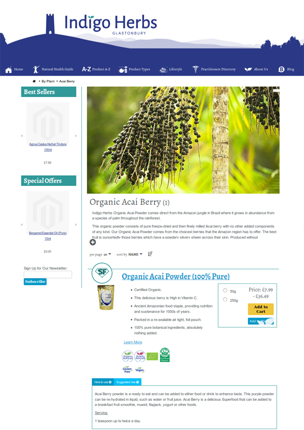 Indigo Herbs New Website - Acai Berry