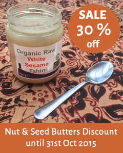 30% off all our Nut & Seed Butters Jars for the month of October 2015