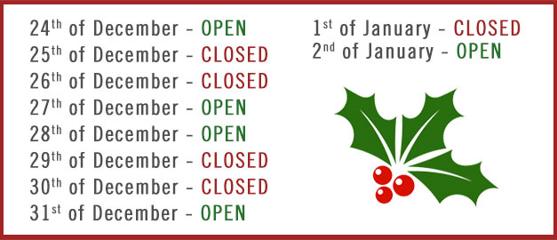 Opening Times Christmas