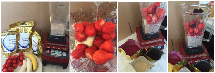 A banner of 4 photos showing you how to make the Red Berry Smoothie, pictures to show which ingredients go in first (use table for order).