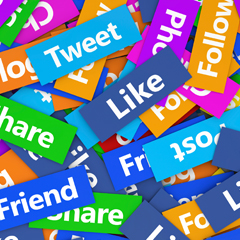 Social Media sharing, like, post, follow, share, friend, tweet