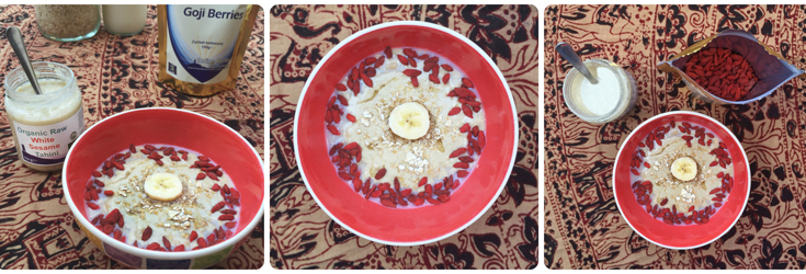 Organic Raw White Sesame Tahini and Goji Berries on Porridge with Banana