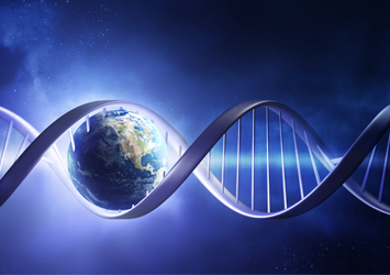 Blue space background, DNA and earth image in one of the loops